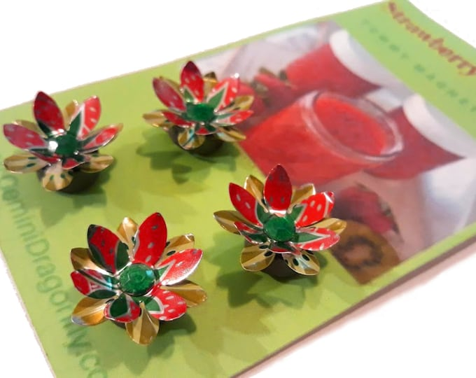 Flower Magnet Gift Set, Strong Magnets from Upcycled Soda Cans in Red and Green