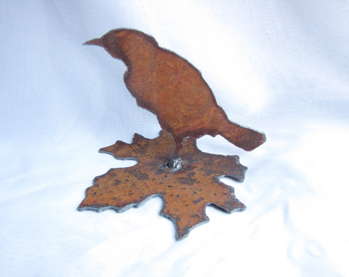 Realistic Bird on Maple Leaf from Rusty Metal Garden Art or Home Decor