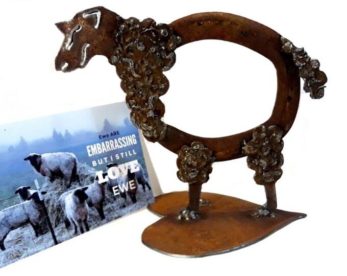 Cute Sheep Garden Art, Horseshoe Art with Sheep Greeting Card Photo, Funny Gift for Farmer, Rancher Gift