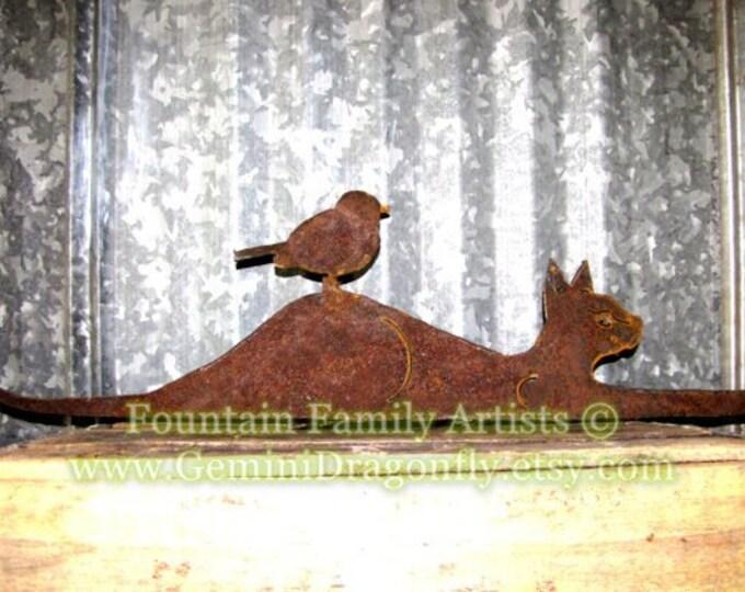 Kitty Cat and Bird Friends Metal Garden Art Rusty Recycled Metal