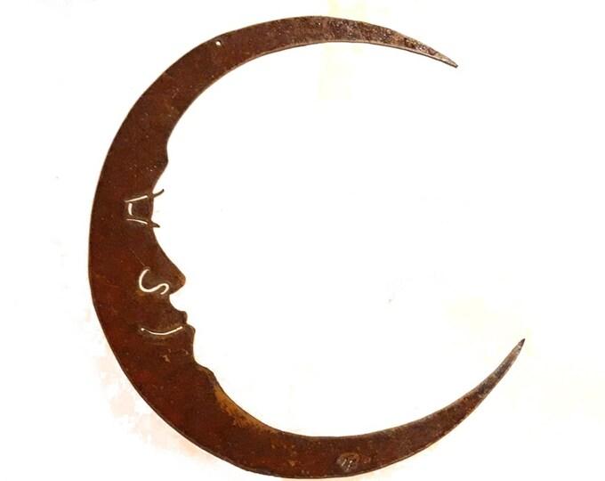 Rusty Crescent Moon / Man in the Moon Metal Garden Art / Recycled Metal Moon / Celestial Wall Art / Wall Art Moon