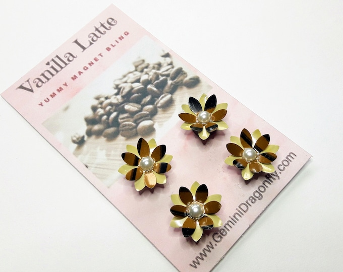 Beautiful Magnet Set of 4, Flower Magnets, Magnet Gift Set, Strong Magnets from Recycle Metal