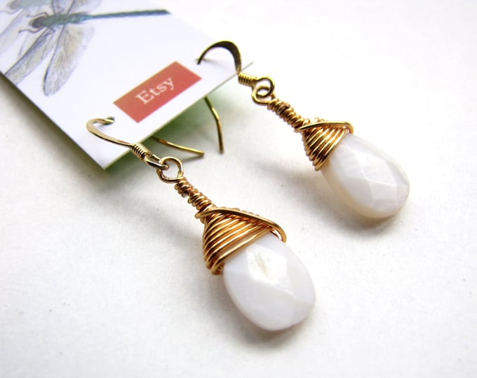 Mother of Pearl Earrings with Faceted Teardrop Style, Handmade and Wire Wrapped