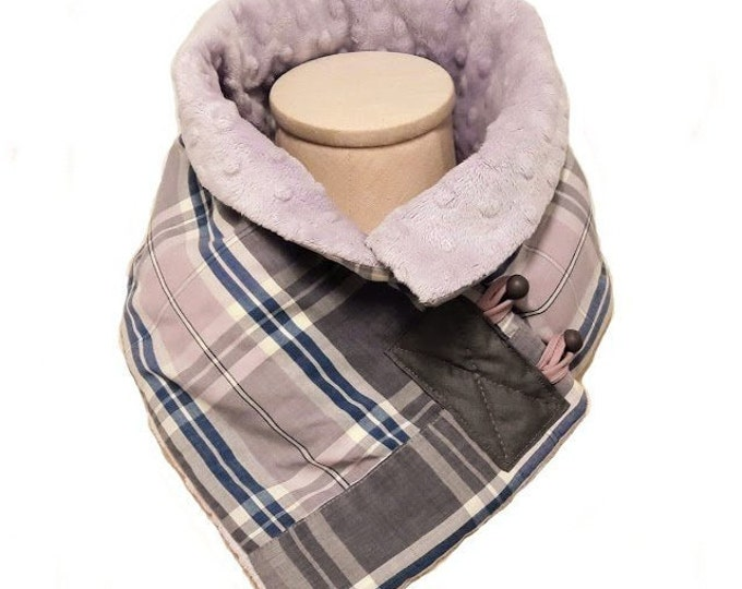 Lavender and Blue Plaid Neck Warmer with Minky Dimple Plush Liner, Cotton/Polyester Shirting and Plush Crossover Scarf from Upcycled Fabrics