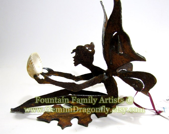 Gift Fairy Garden Art or Nursery Decor Rusty Recycled Metal Eco Friendly Housewarming Gift