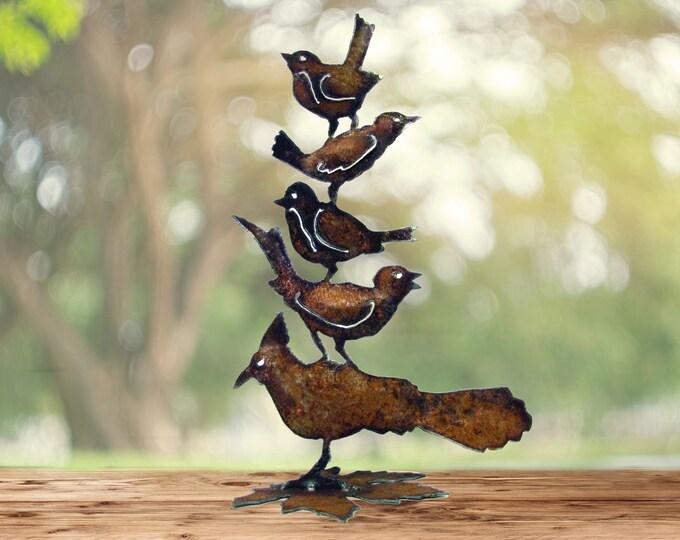 Embrace Diversity Birds Garden Art Nursery Decor Recycled Metal