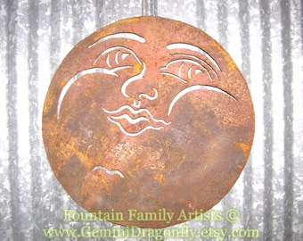 Rusty Full Moon Face Garden Art from Recycled Metal