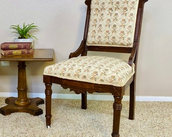 SET OF TWO Victorian Eastlake Antique Walnut Floral Upholstered Chairs