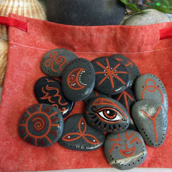 Witches Runes 13 Sea Stone Runes /& Bag YOU pick the Colour Pagan Divination Tool