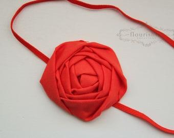 Back to Basics- ORANGE Rosette headband, everyday headbands,  orange headbands, newborn headbands, photography prop
