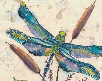 Dragonfly with Cattails Watercolor Batik Painting, Dragonfly Lover's Gift ,Fine Art