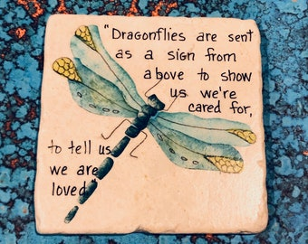 Personalized Hand-painted Dragonfly Painting on A Stone Tile, Gift For A Dragonfly Lover,Fine Art.