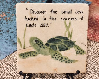 Turtle Art, Turtle Painting on Tile, Oil Painting, Turtle Oil Painting, Tiles, Small Art, Reptile Painting, Tile with handwritten verse.