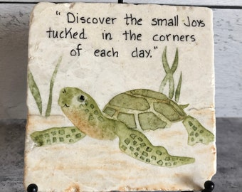 Personalized Original Hand-painted Turtle on Stone Tile, Gift For A turtle Lover, Hand-printed Art