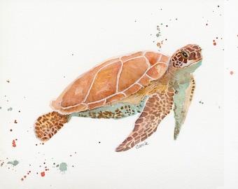 Sea Turtle Watercolor, FineArt, Print, Giclee
