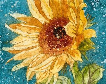 Sunflower-Watercolor Batik Painting, Carole's Studio Prints,Sunflower Wall Art