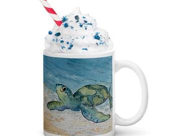Turtle White glossy mug