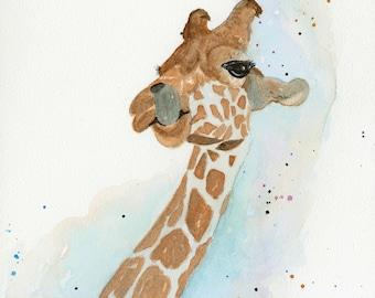 Giraffe Watercolor Painting,Fine Art