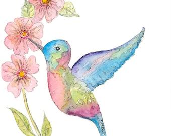 Hummingbird Watercolor ,Hummingbird Lover's Gift.