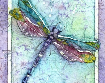 Dragonfly-Watercolor Batik Painting, Dragonfly Lover's Gift,Fine Art