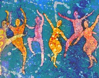 Dancer Watercolor Batik Painting, Fine Art, Prints