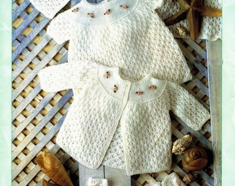 bbfac89de3af43 Baby 4 ply Layette   Dress Jacket Bonnet Bootees shawl etc. 12-18 ins - PDF  of Vintage Knitting Patterns - Instant Download