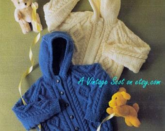 Baby Toddler Aran 10ply Jacket Amp Hooded Jacket 18 24ins Etsy