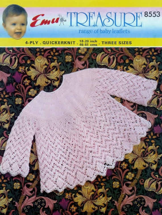 9ba213665f03 Baby 4ply   Qk Angel top 18-20ins PDF of Vintage Knitting
