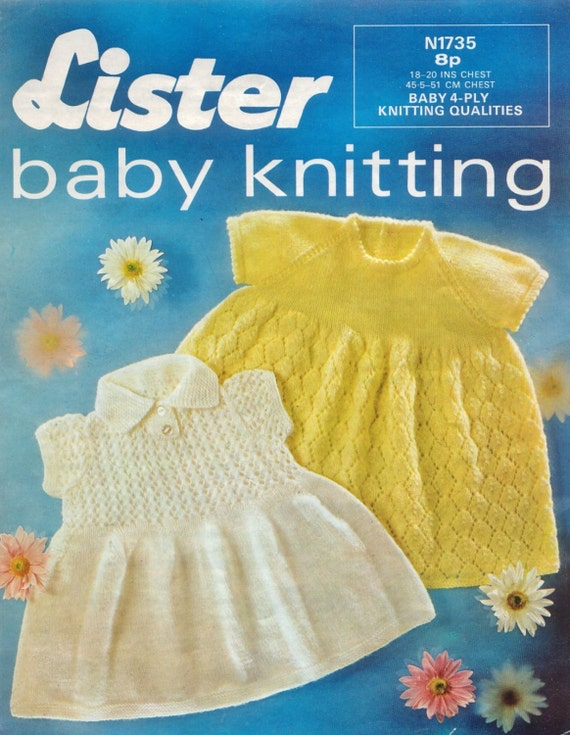 d5c196f4ab00 Baby 4 ply Dresses 2 styles Sizes 18 and 20 ins Lister 1735