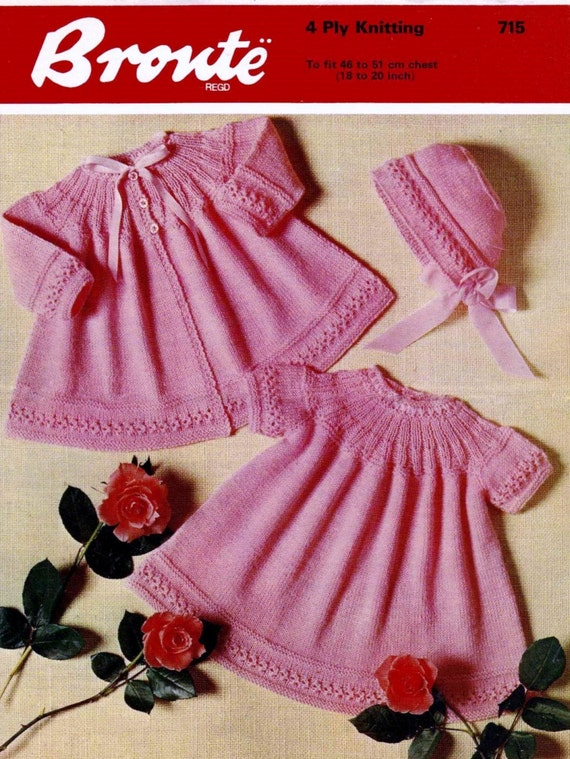 9890808f2 Baby 4ply Short dress Matinee Jacket and Bonnet 18 to 20 ins