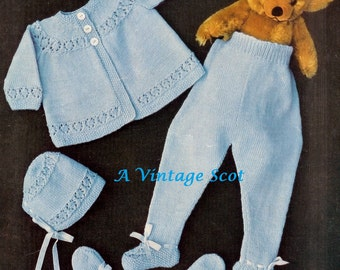 Baby 4ply Pram Set  - Matinee Coat,  Leggings Mittens and Bonnet  18-20ins  -  PDF of Vintage Knitting Patterns - Instant Download