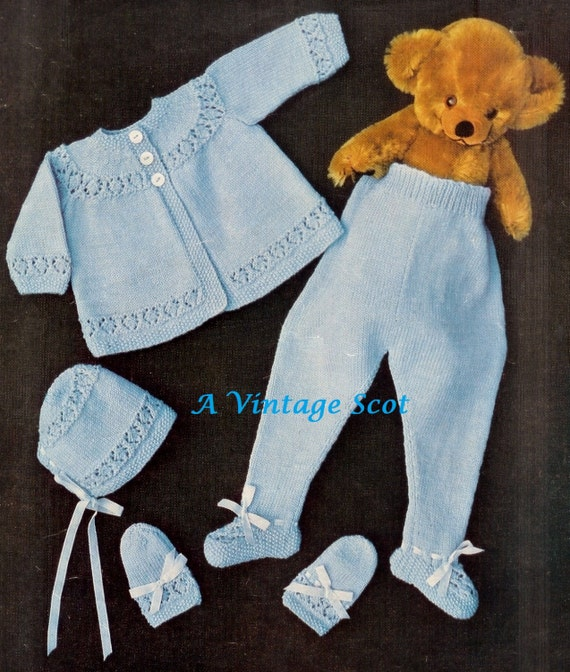 Baby 4ply Pram Set Matinee Coat Leggings Mittens And Etsy