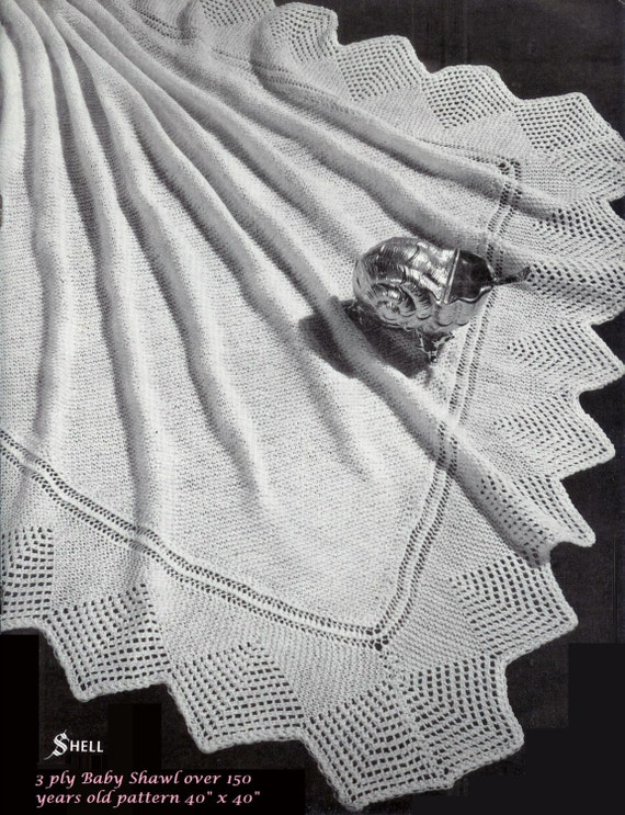 b9c792eac120 Baby Heirloom 3 ply Shell Lace Border Shawl size 40 x 40