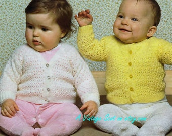 Baby 4ply Cardigans - 2 styles for Sizes 18 - 22ins - Pingouin 8219 - pdf of  of Vintage KnittingPatterns