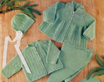 Baby Pram Set - Coat Leggings Jacket & Bonnet in 4 ply for sizes 18 - 20 ins - Bronte 592 - PDF of Vintage Knitting Patterns
