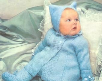 Vintage Baby Pram Set - Coat Leggings Hat & Mittens in DK 8ply Light Worsted yarn for 21ins - Lavenda 454 - PDF of Vintage Knitting Patterns