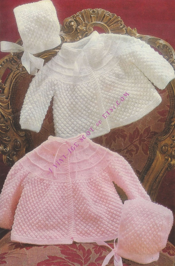 0a2c00ae8 Baby 3ply and 4ply instructions for Matinee jacket   Bonnet