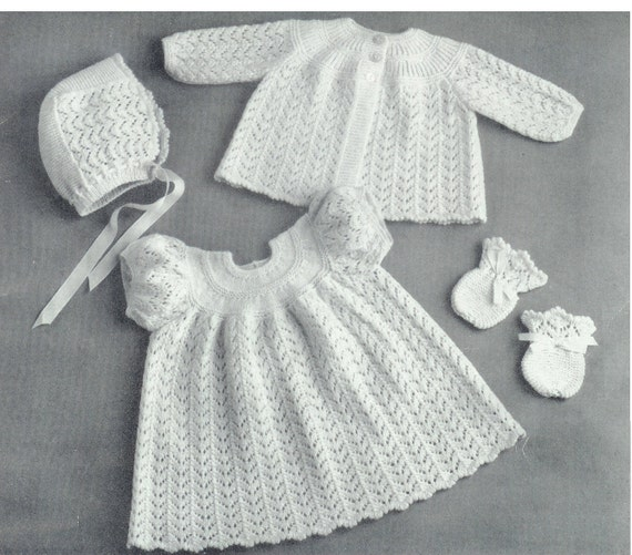 17e3750c8 Baby 3ply Matinee Jacket Dress Bonnet   Bootees 16-18ins