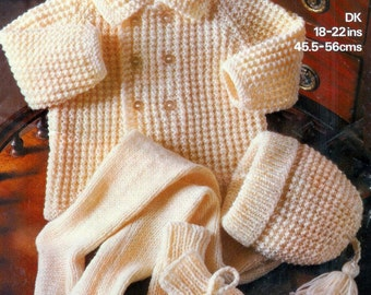 BABY Pram Set - Coat Leggings Hats & Mittens - DK 8 ply  sizes 18 - 22 ins - Marriner 1922 - PDF of Vintage Knitting Patterns