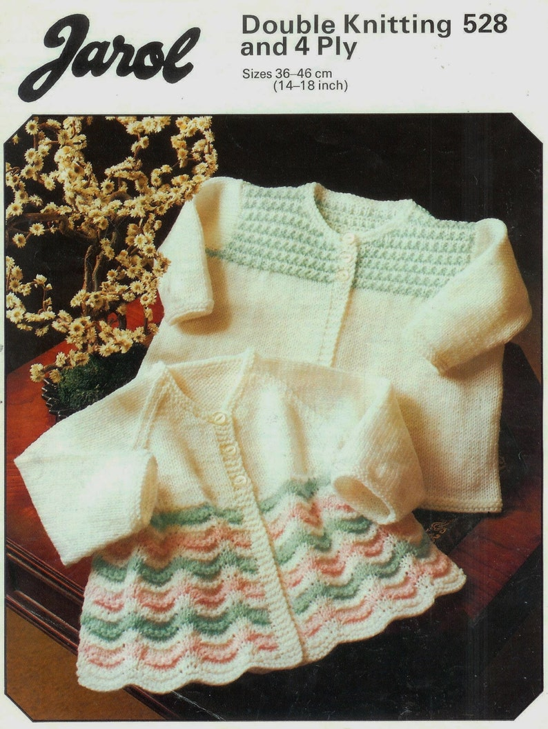 ef94ba414 Baby Knitting Patterns - DK   4ply Matinee Jackets 2 styles in Sizes 14 to  18ins - pdf Vintage Baby Knitting Pattern