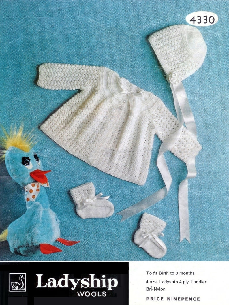 ded187b41 Baby Matinee Jacket Bootees and Bonnet 4 ply for Sizes 0-3