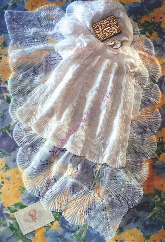 baf246092b58 Baby Christening Dress   Gown   Robe and Shawl in 3 ply yarn