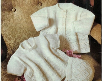 Baby  4ply Matinee Jacket Dress and Bonnet  16 - 20 ins - PDF of Vintage Baby  Knitting Patterns