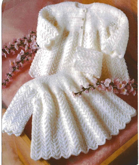 f74e0bcbb BABY 4ply and DK 8ply Baby Matinee Jacket   Dress Sizes