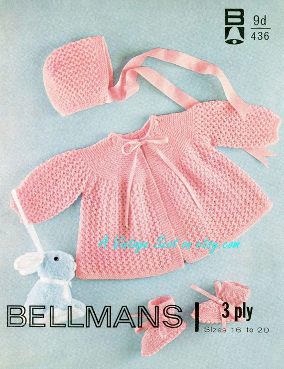 09a6d751c9ea Baby 3ply Matinee Jacket Bonnet and Bootees 16-20 ins