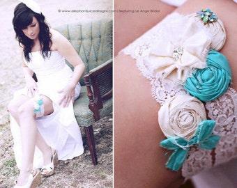 Wedding garter set, SILK, Aqua, Turqouise /Silk Wedding Garter, bridal garter / Something Blue wedding garter / vintage lace garter