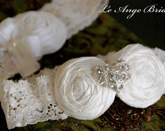 ON SALE/Ivory silk wedding garters with Heart rhinestone