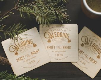Rustic Wood Wedding Invitations: Wood Engraved Coasters