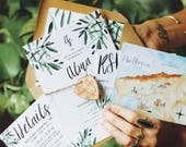 Whimsical Watercolor Floral Wedding Invitation: Rustic Garden Olive Branches