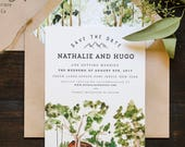 Rustic and Woodland Watercolor Save The Date: Forest and Trees